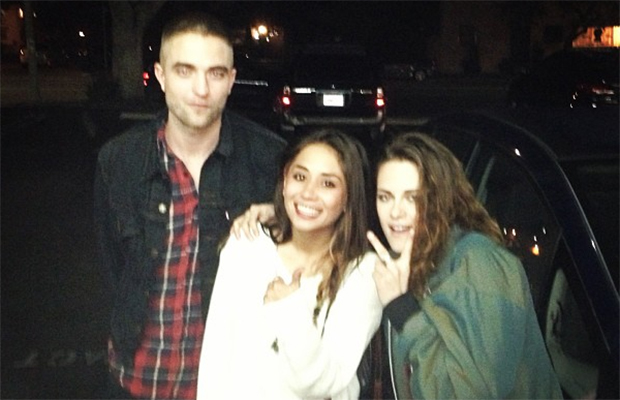 Robert Pattinson and Kristen Stewart pose with a fan in L.A. (Instagram)