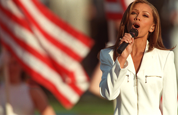 Vanessa Williams in 1996 as she sang the National Anthem. (Getty Images)