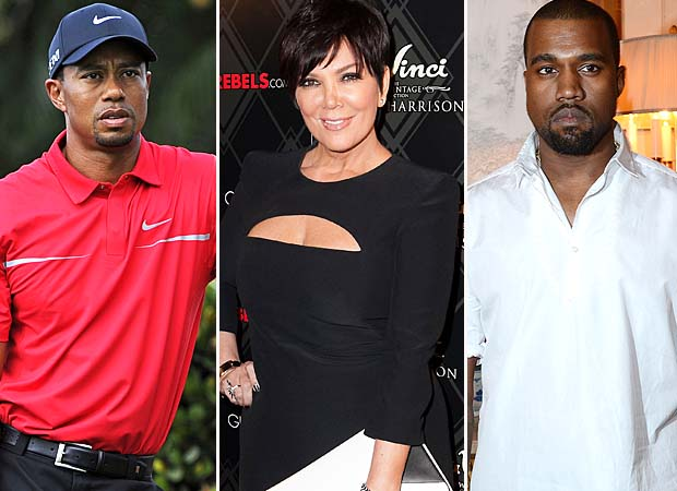 Tiger Woods, Kris Jenner, Kanye West (WireImage)
