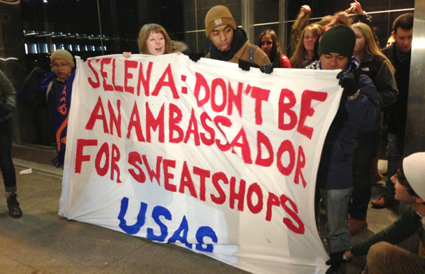 Protesters outside the Adidas fashion show on February 6. (omg!)