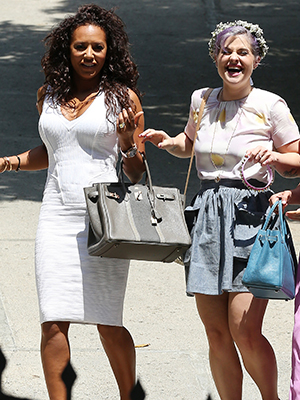 Mel B and Kelly Osbourne at the shower. (Splash News)