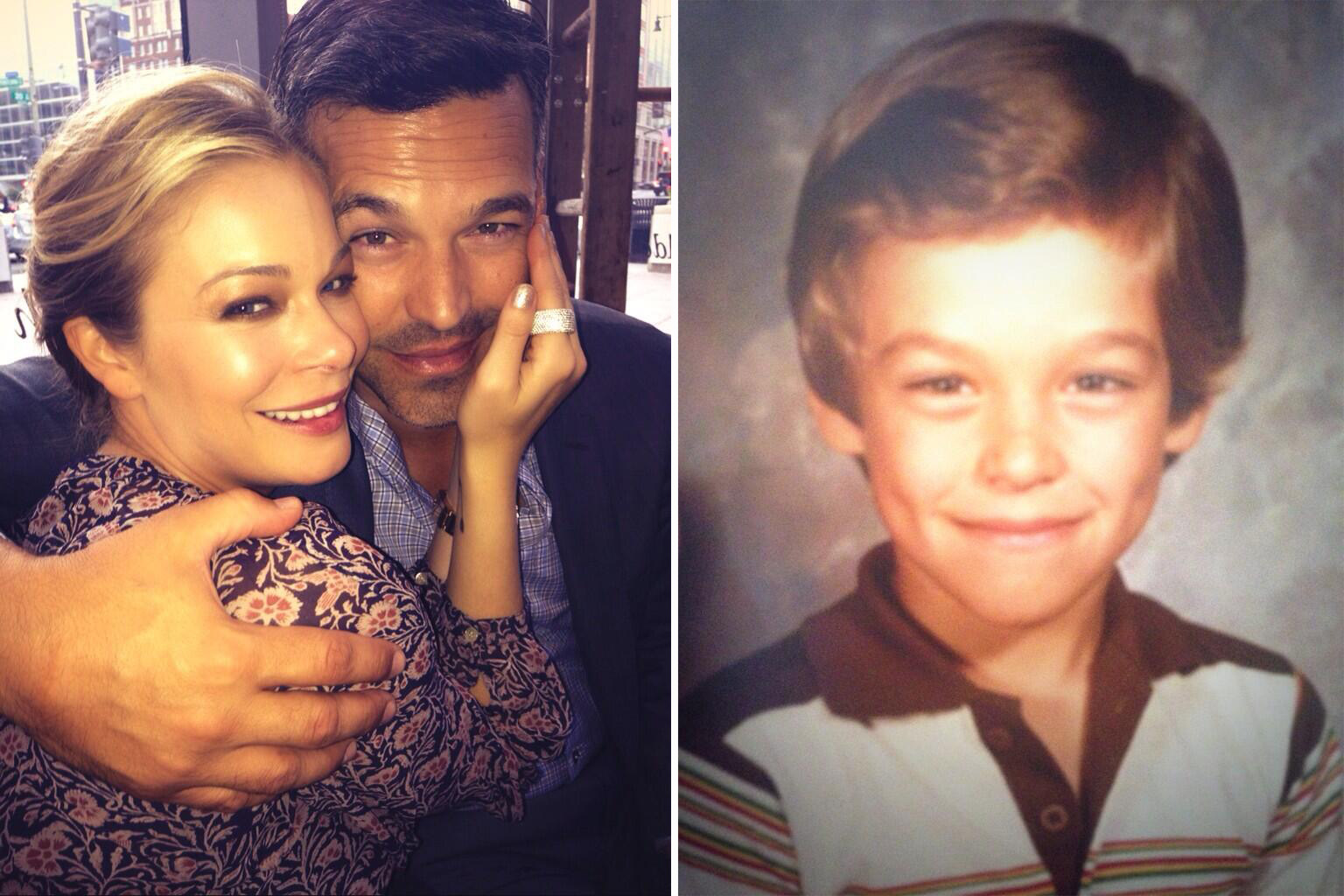 LeAnn Rimes and Eddie Cibrian pictured in August; Cibrian as a little boy. (Twitter)