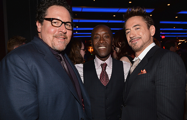 Jon Favreau, Don Cheadle, and Robert Downey, Jr. at the 'Iron Man 3' after-party (Getty Images)