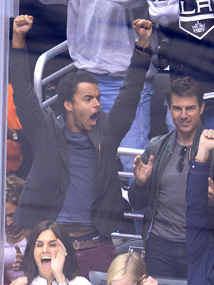 Connor and Tom Cruise cheer on the L.A. Kings (Noel Vasquez/Getty Images)