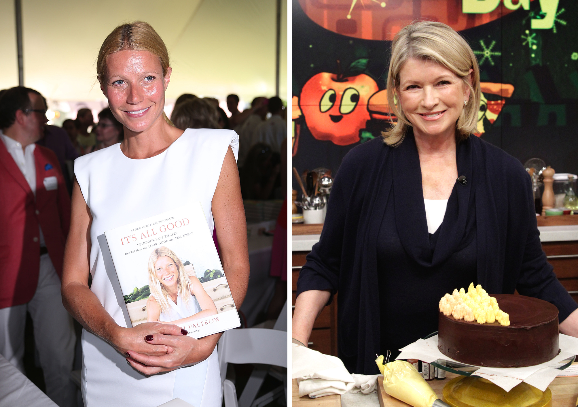 Gwyneth Paltrow shows off her book, while Martha Stewart hits the kitchen. (Getty)