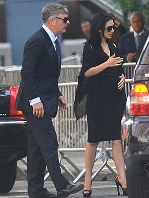 Alec and Hilaria Baldwin at James Gandolfini's funeral (Getty Images)