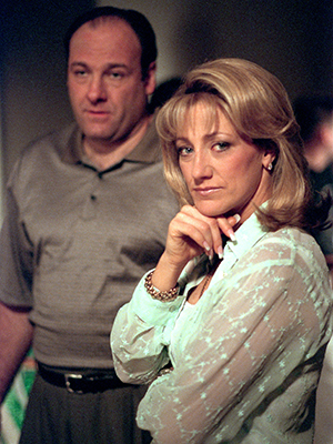 The actor on the series that made him famous, with co-star Edie Falco. (Getty Images)