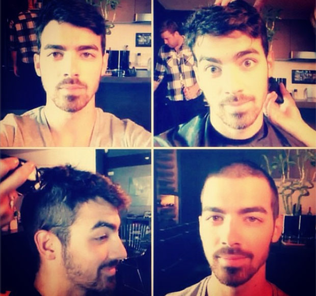 Joe Jonas says goodbye to his locks. (Instagram)