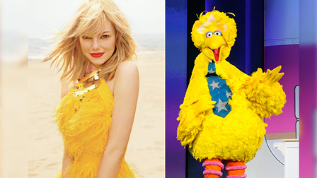 Emma Stone resembles Big Bird (Credit: Carter Smith for ELLE/ Getty Images)