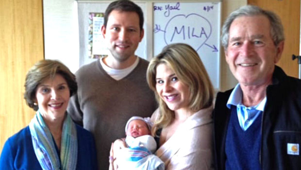 The Bush-Hager family introduces Mila. (Hulu)