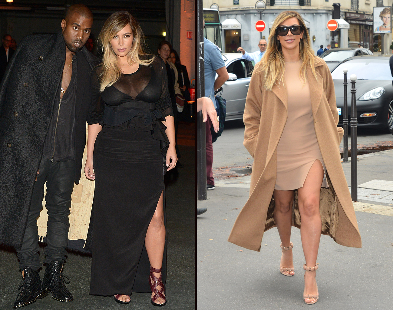Kim and Kanye head to Givenchy / Kim looks leggy and gorgeous strolling around Paris (WireImage/PacificCoastNews)