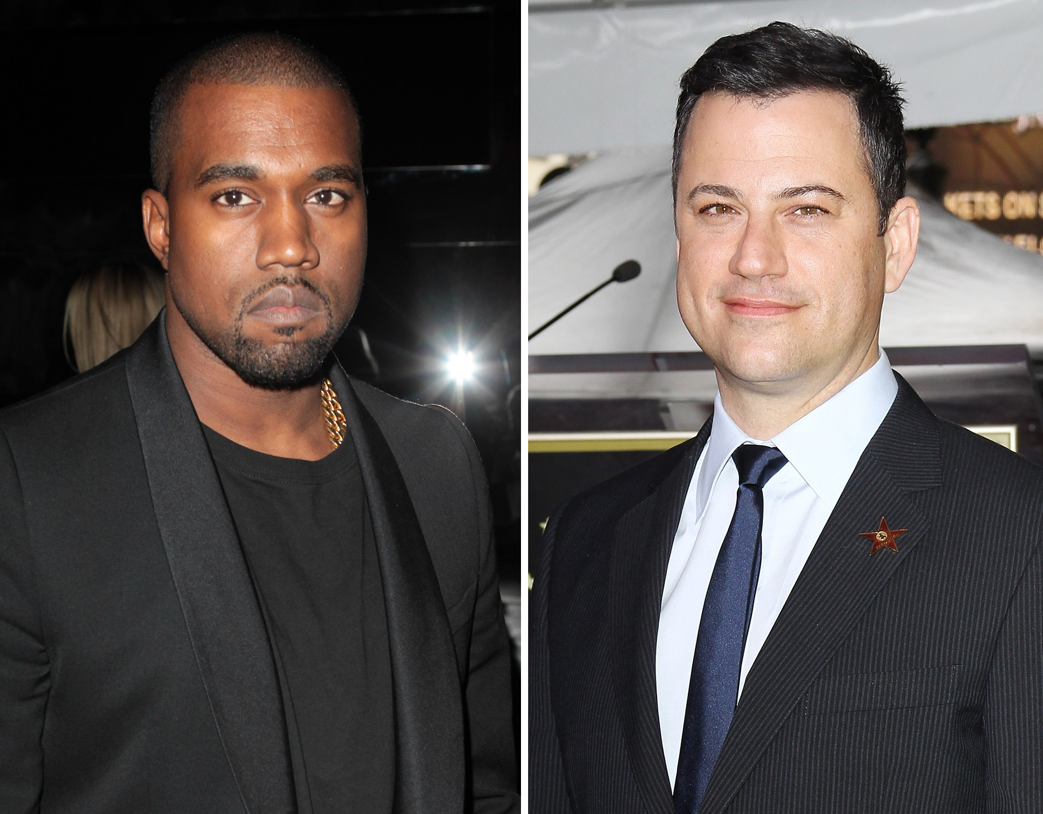 Kanye West and Jimmy Kimmel (WireImage/FilmMagic)