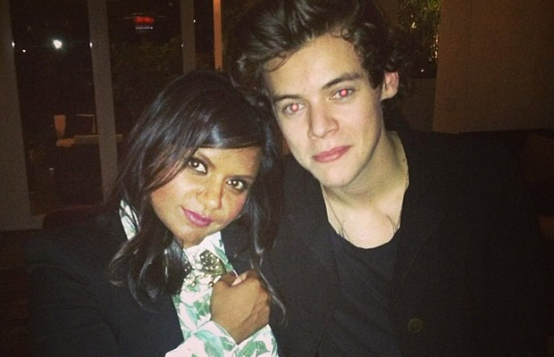 Mindy Kaling cozies up to Harry Styles. (Instagram)