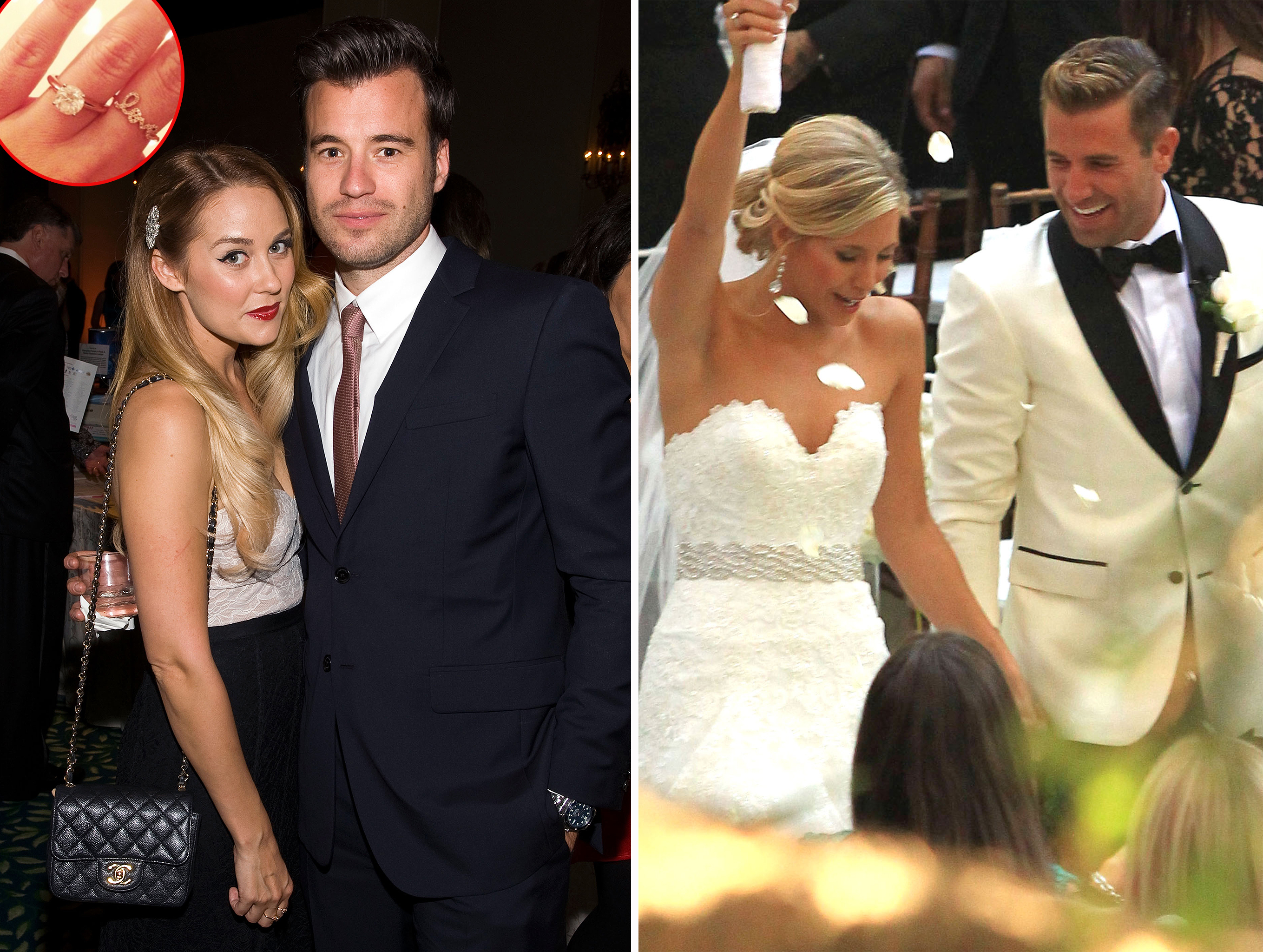 Lauren Conrad and William Tell (and her engagement ring) and Jason Wahler and Ashley Slack's wedding (WireImage/Instagram(inset)/FameFlynet)