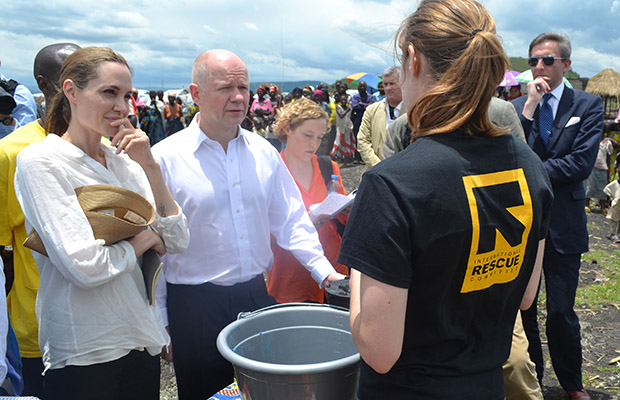 The actress and UK Foreign Secretary William Hague visit a rescue camp in the Congo this week. (CHP/FAMEFLYNET PICTURES)