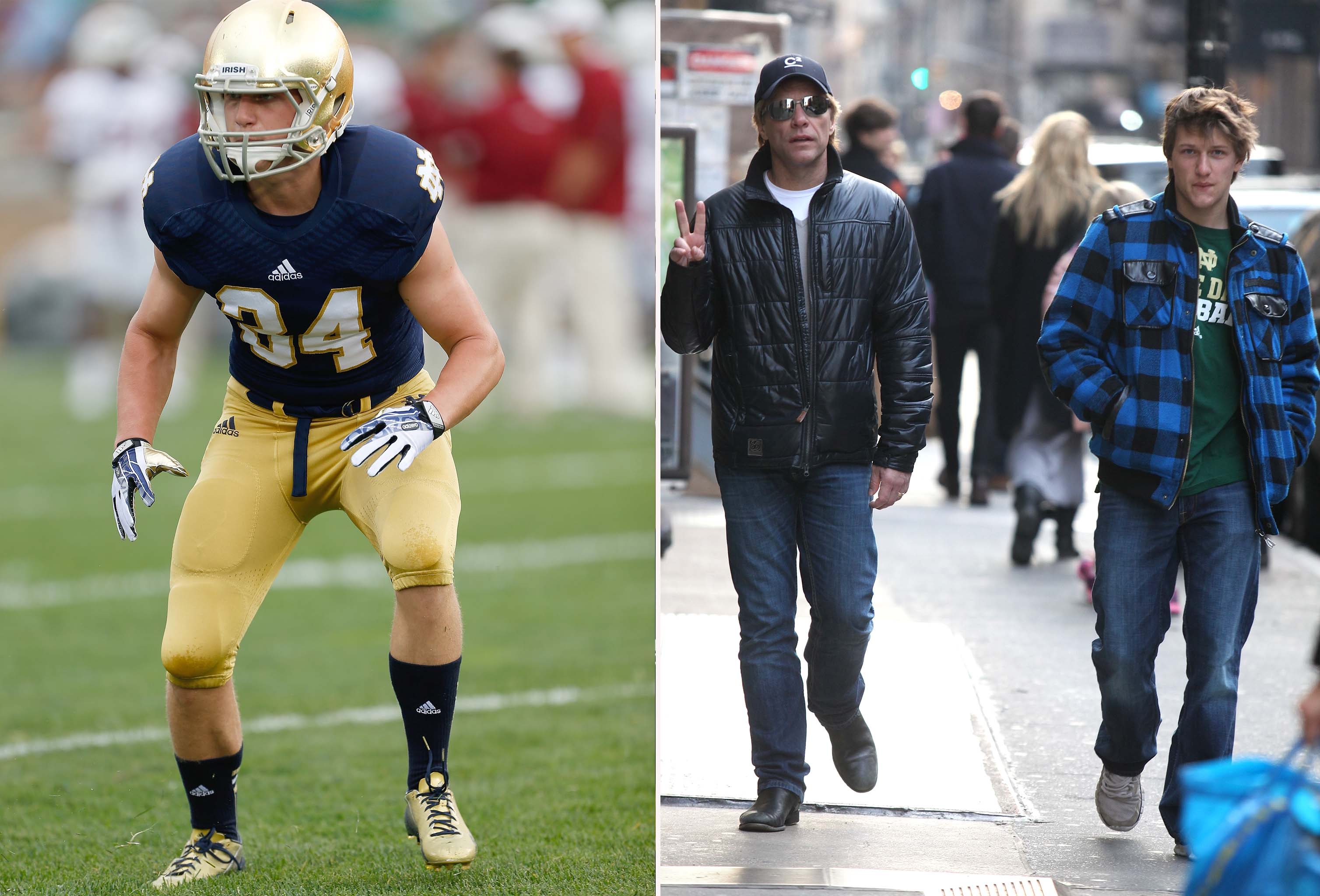Jesse Bongiovi and his biggest fan, his dad Jon Bon Jovi. (AP/Startraksphoto.com)