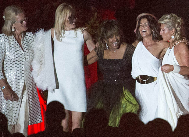 Newlywed Tina Turner is having a blast in her green wedding dress (Splash News)