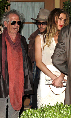 Keith Richards, Johnny Depp, and Amber Heard in L.A. (Raffi/NPG.com)