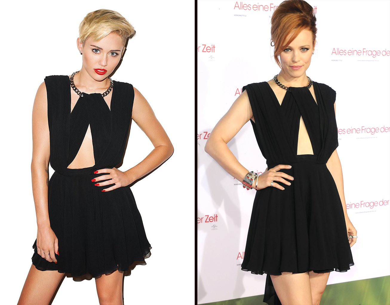 Miley Cyrus vs. Rachel McAdams (Harper's Bazaar, Getty)
