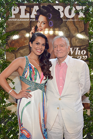 Pomplun with Hugh Hefner (Getty Images)