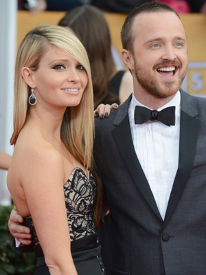 Aaron Paul and fiancee Lauren Parsekian.(Jeff Kravitz/FilmMagic)
