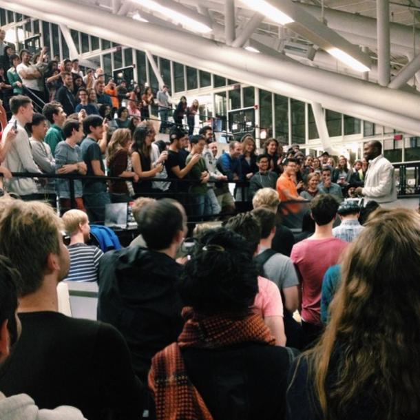 Kanye West speaks to a crowd of Harvard students. (Instagram)