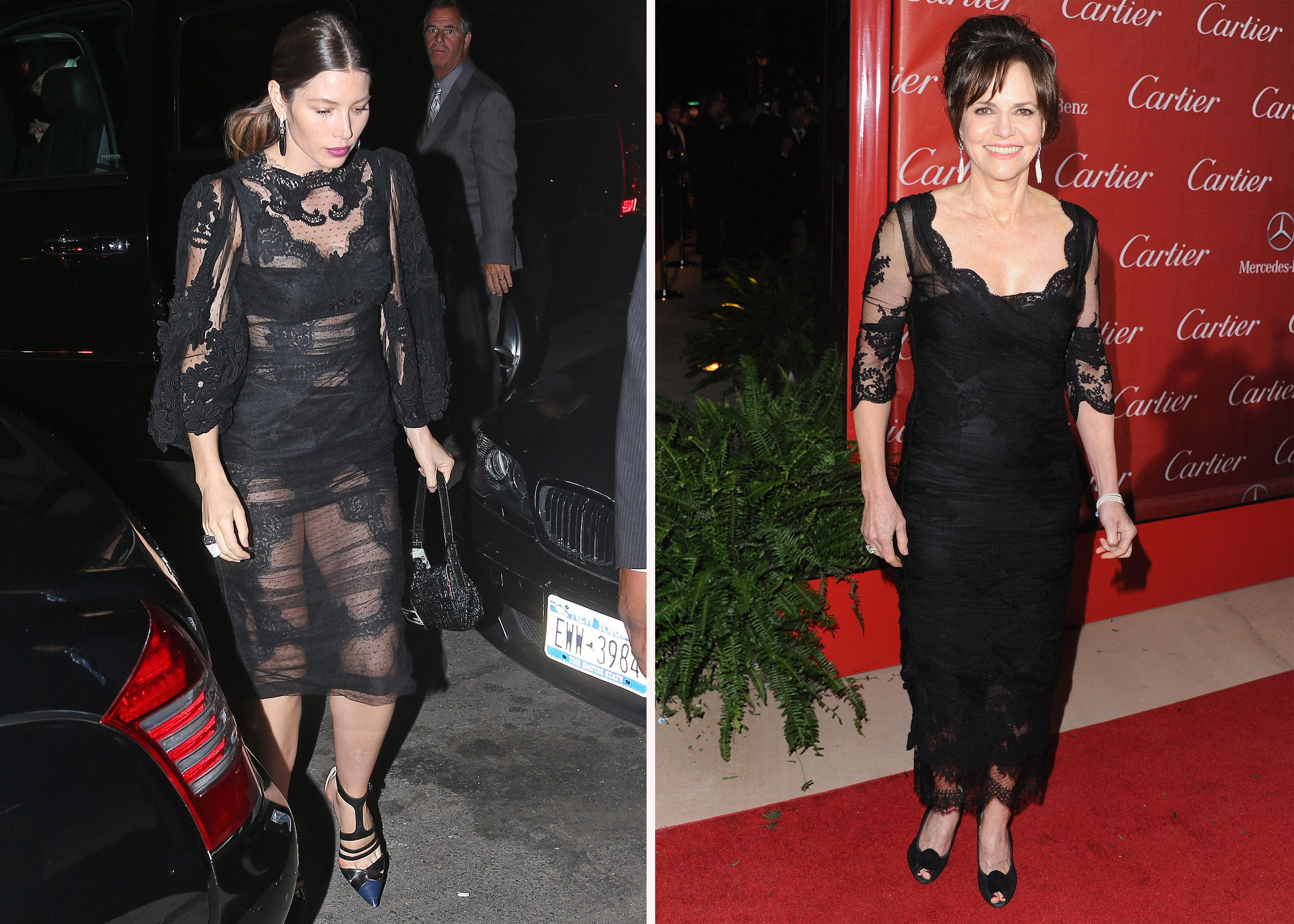 Jessica Biel and Sally Field step out in black lace. (Splash News/Getty Images)