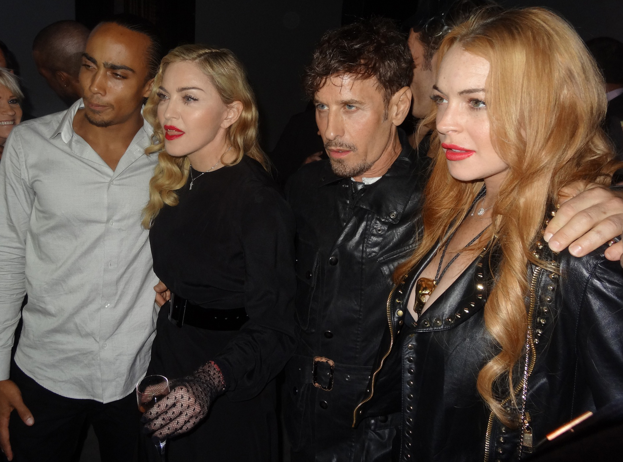 Madonna and Lindsay Lohan with dancer Marvin Gofin (left) and Steven Klein (Splash News)
