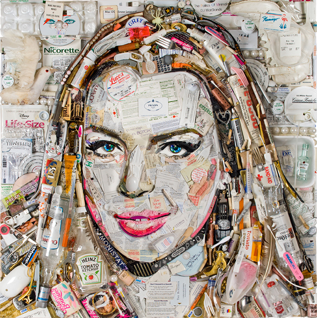 Lindsay Lohan portrait made of trash (Jason Mecier)