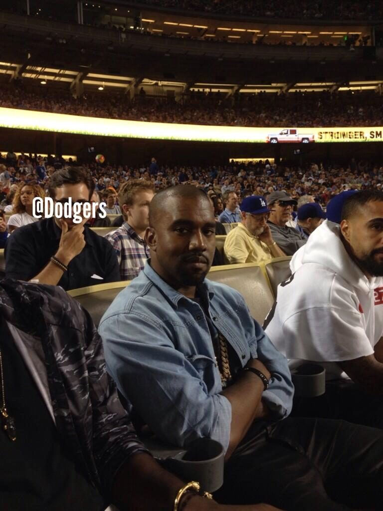 The Dodgers tweeted this photo of Kanye West watching the game (Twitter)