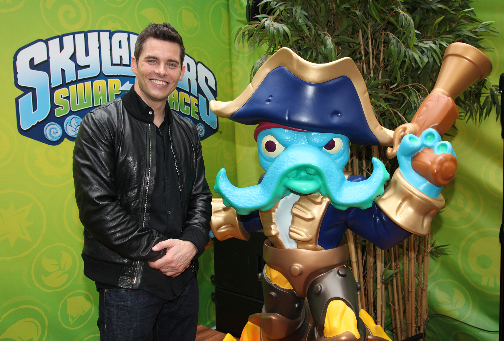 Marsden bonds with Skylander at the launch event for Activision's Skylander SWAP Force (Getty Images)