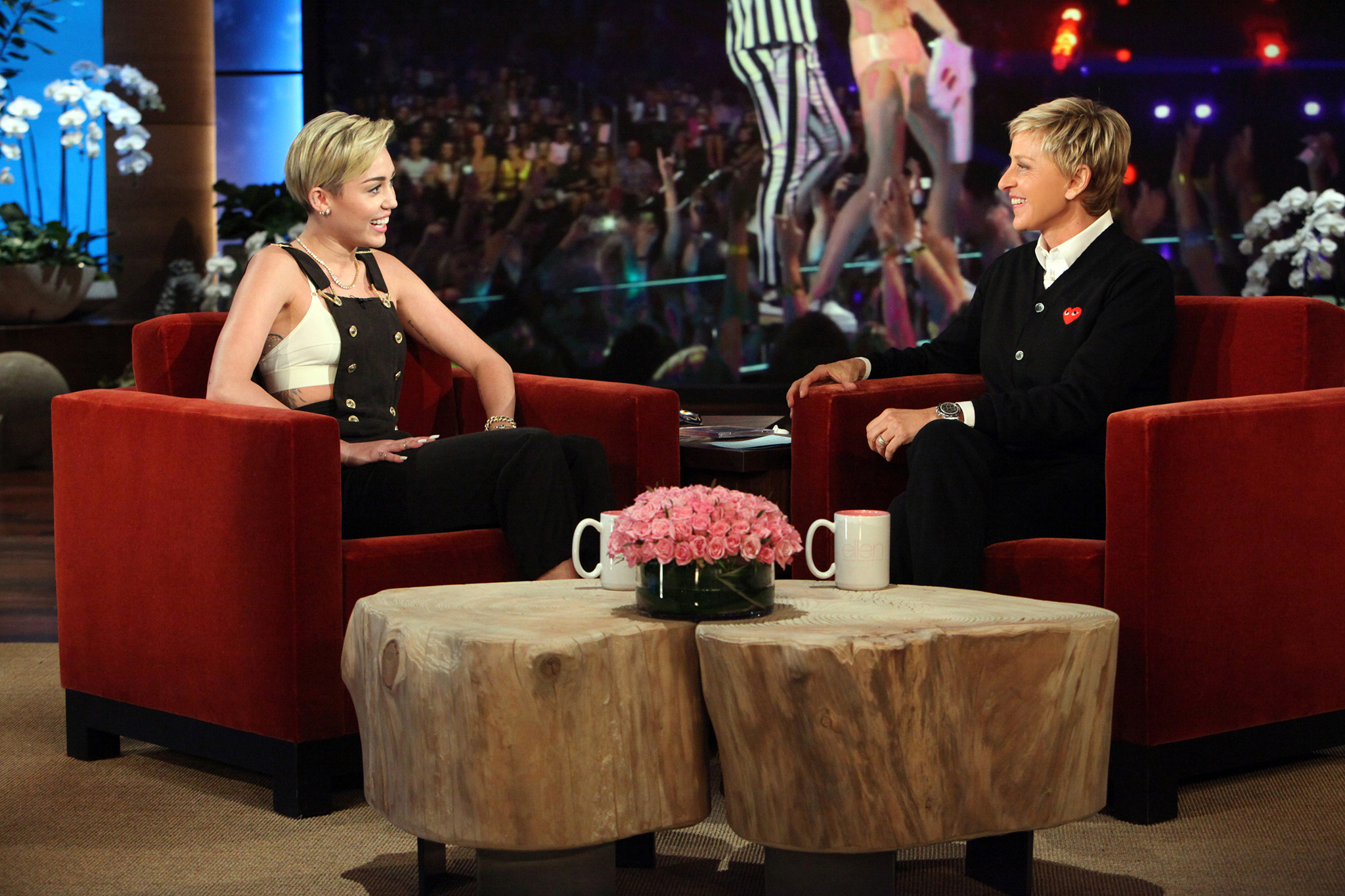 Miley's interview with Ellen airs October 11. (Michael Rozman/Warner Bros.)