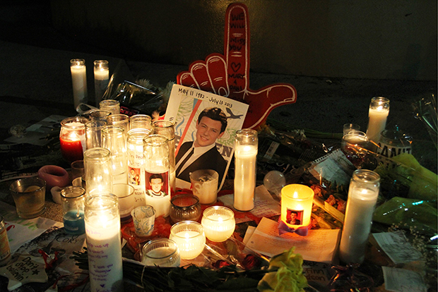 A tribute to Cory Monteith outside Paramount Studios, where 'Glee' was taped. (Splash News)