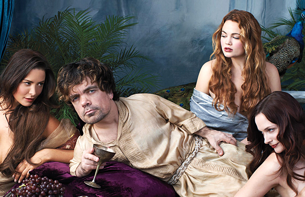 Peter Dinklage and a bevy of beauties (Playboy)