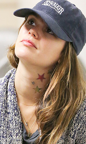 Rachel Bilson's crazy neck tattoos (Splash News)