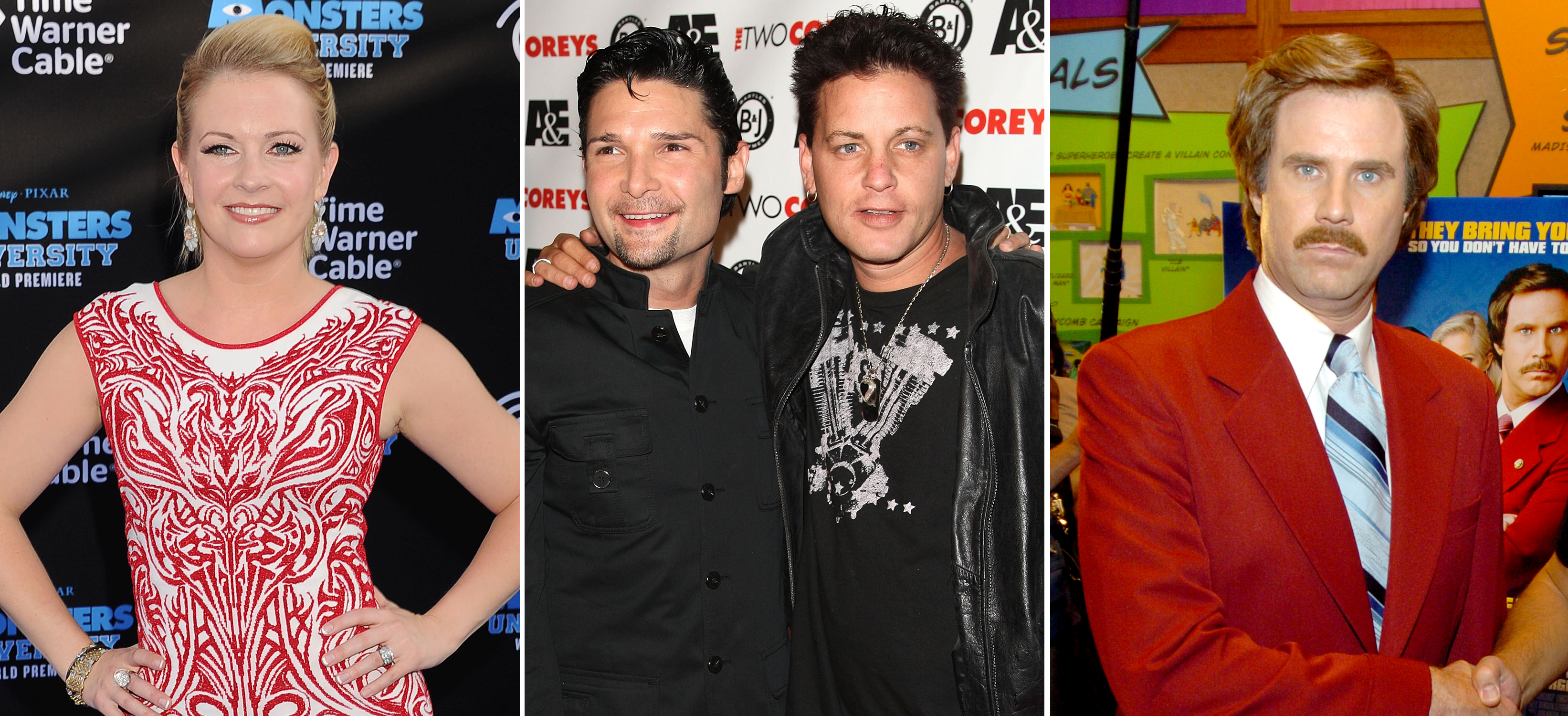 Melissa Joan Hart, Corey Feldman and Corey Haim, and Ron Burgundy (WireImage/Getty Images/WireImage)