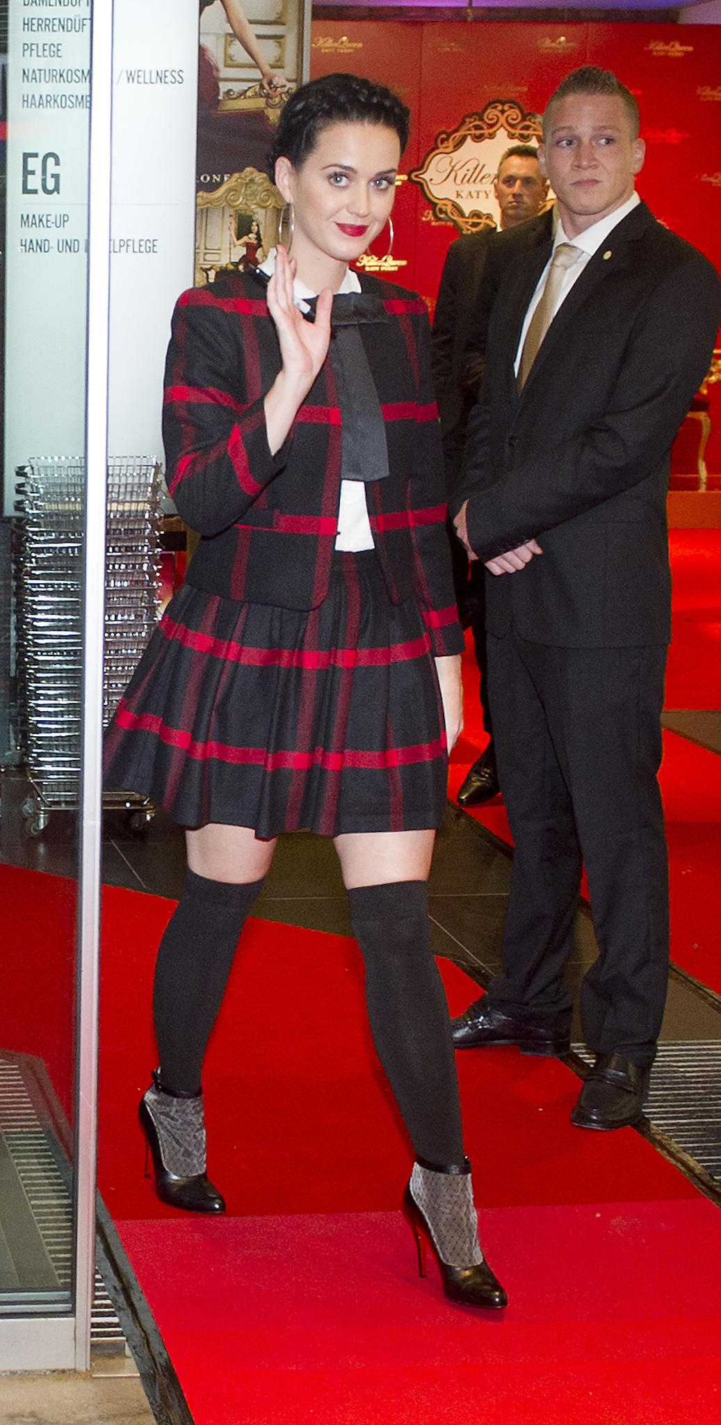 Katy Perry shows off her schoolgirl style in Berlin. (Getty Images