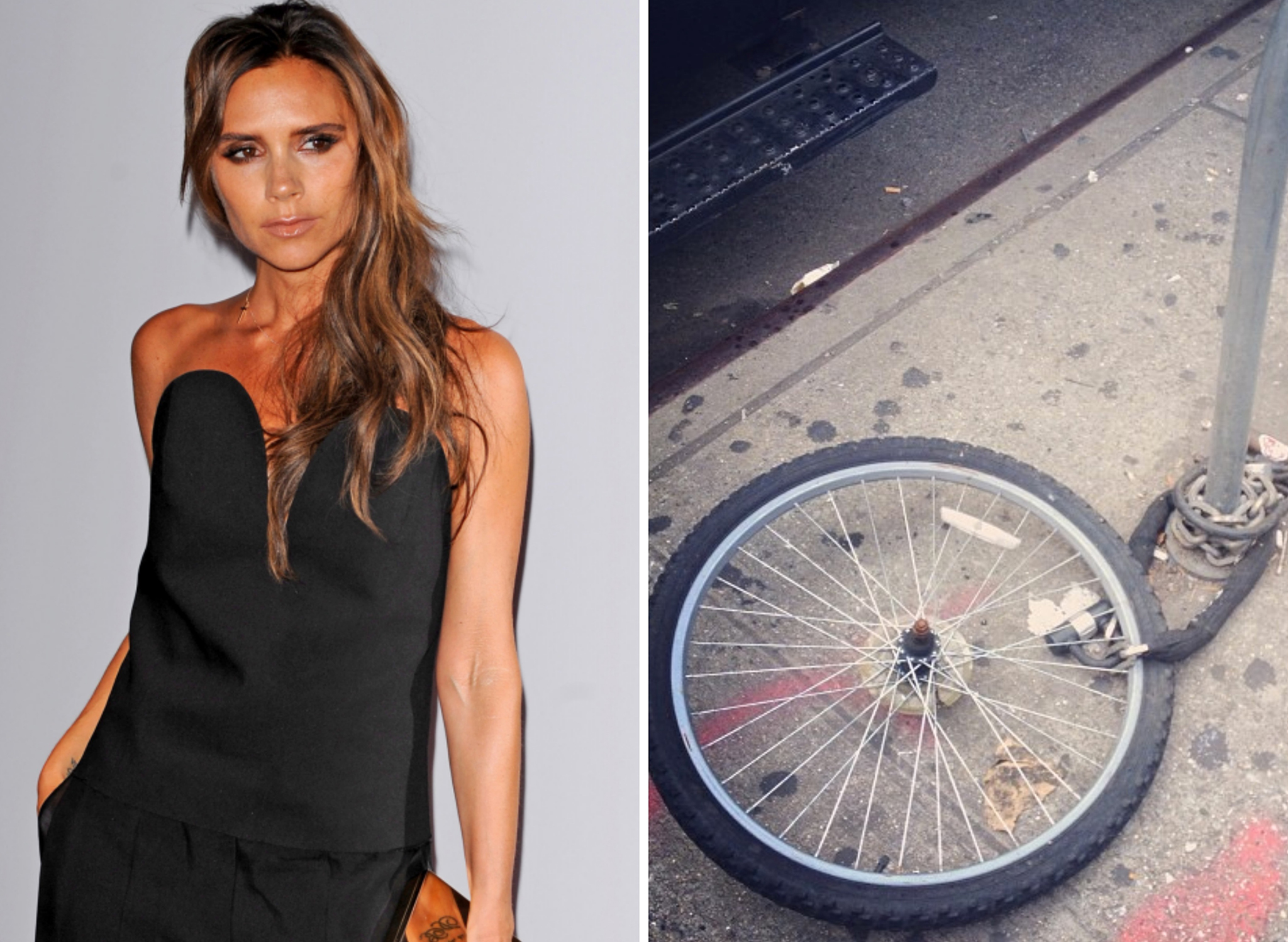 Victoria Beckham and her lonely bike wheel (Getty Images / Instagram)