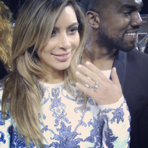 Kim Kardashian shows off her engagement ring! (Instagram)