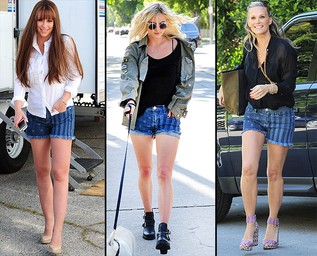 Jennifer Love Hewitt, Ashlee Simpson, and Molly Simms sport patriotic shorts. (Startraksphoto.com)