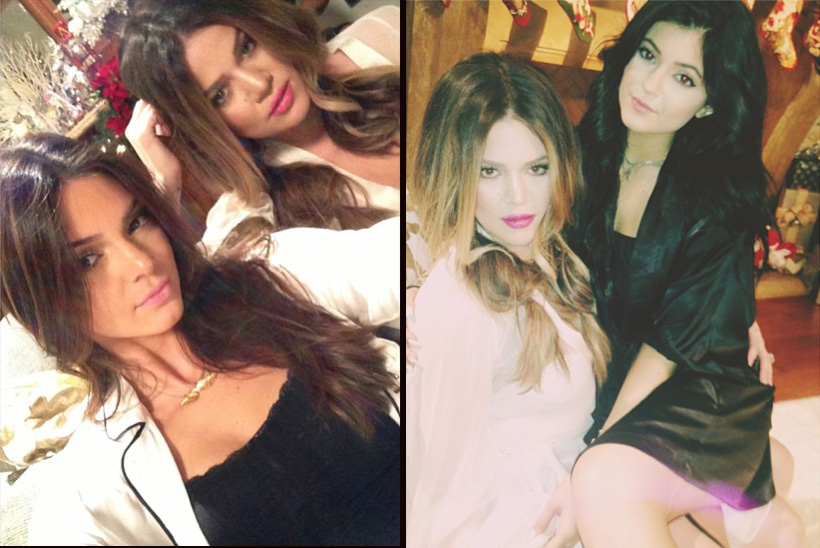 Khloé poses with Kendall and Kylie for their Christmas special (Instagram)