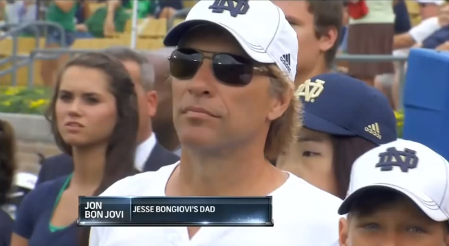 Jon Bon Jovi in the stands at Notre Dame vs. Temple. (YouTube)