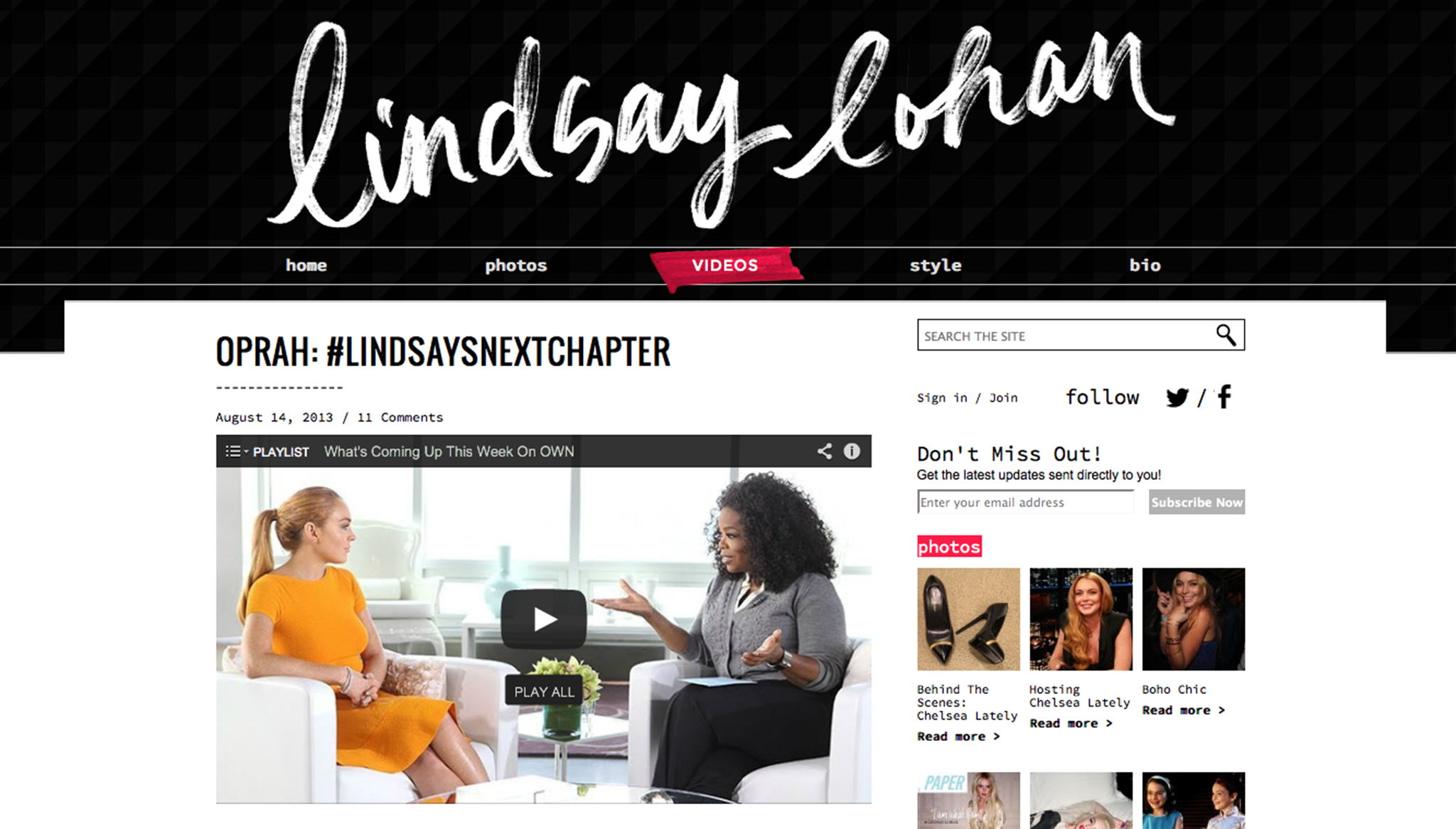 Lindsay's new website (SpinMedia)