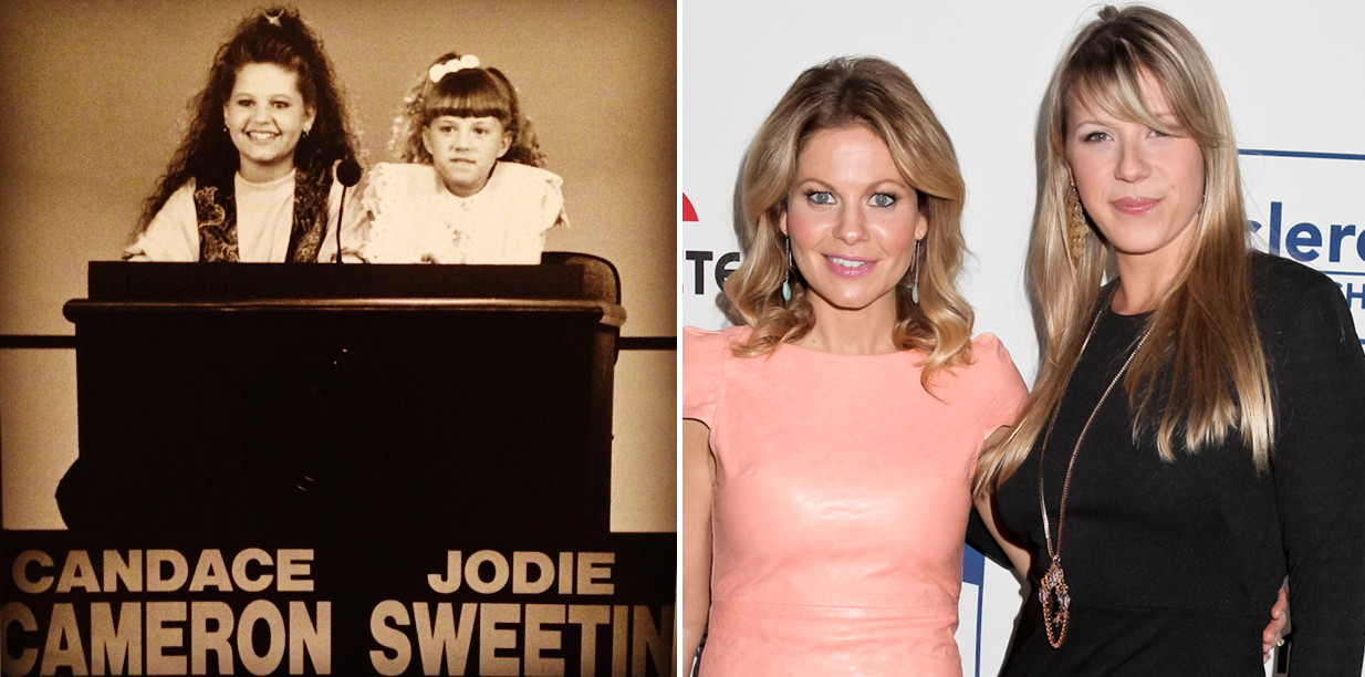 Candace Cameron and Jodie Sweetin smile in 1989 and 2013. (Instagram/FilmMagic)