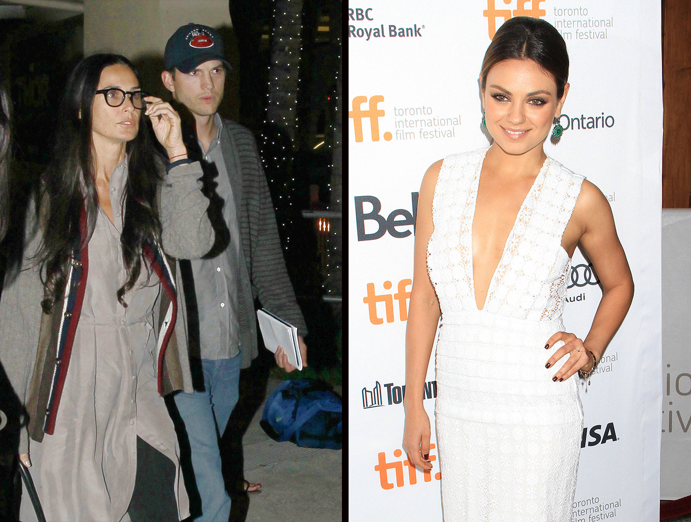 Kutcher and Moore at the airport and Kunis at the Toronto FIlm Fest. (PacificCoastNews.com/FameFlynet)