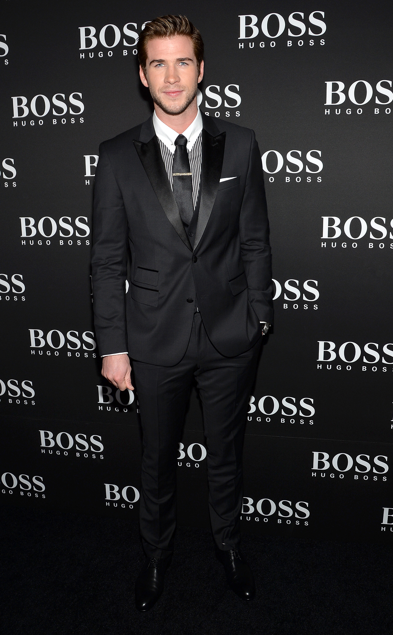 Liam Hemsworth at the Hugo Boss store opening in NYC (Getty Images)