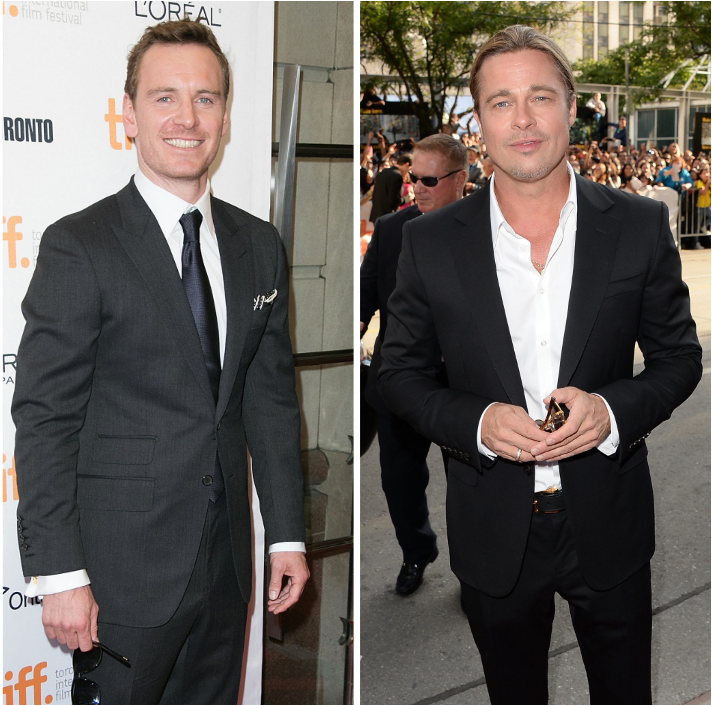 Michael Fassbender, Brad Pitt arrive at