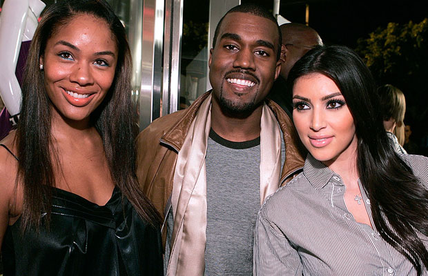 Kanye was all smiles while posing with his former fiancée, Alexis Phifer, and Kim in 2007. (WireImage)