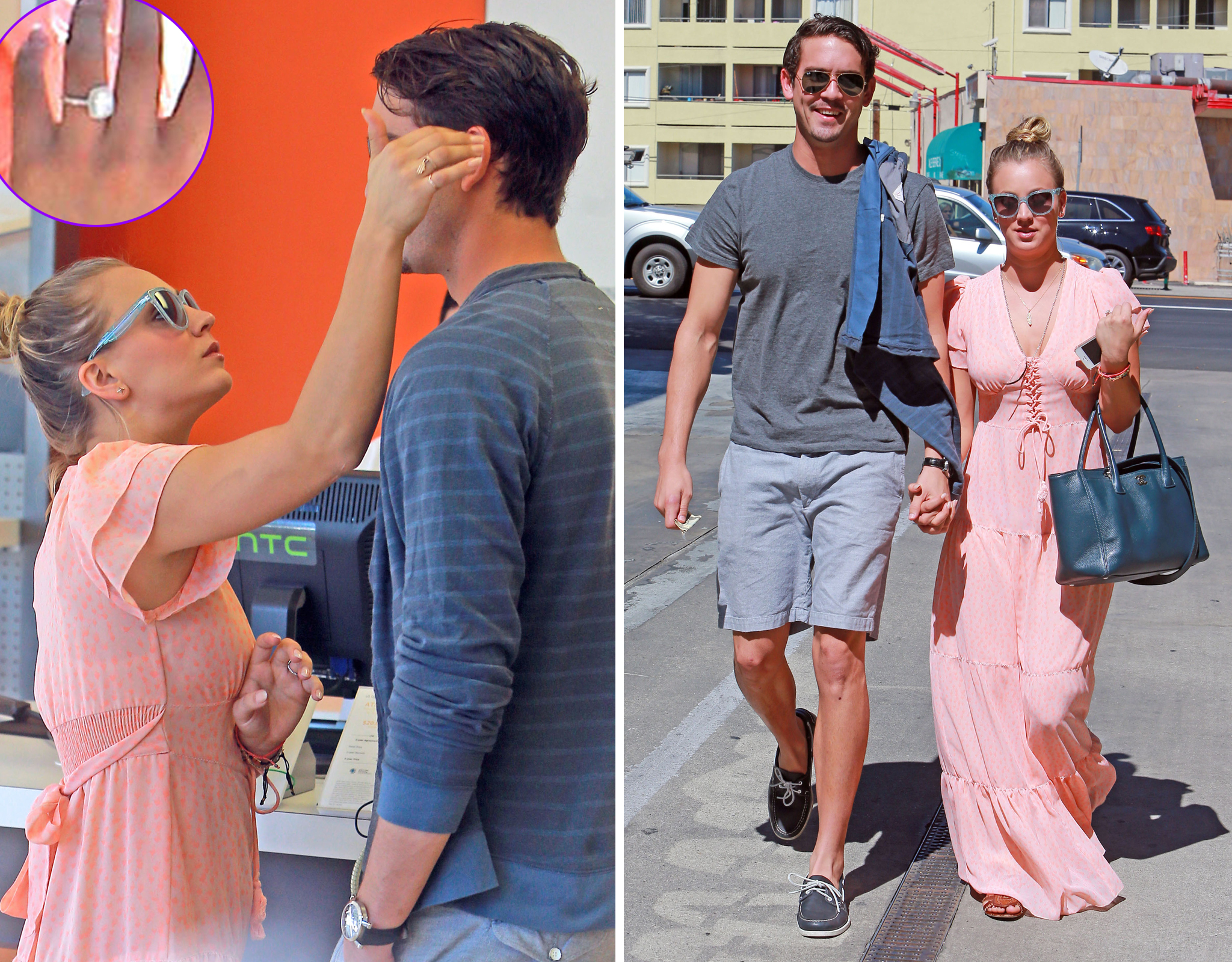 Kaley Cuoco and Ryan Sweeting hold hands. (FameFlynet)