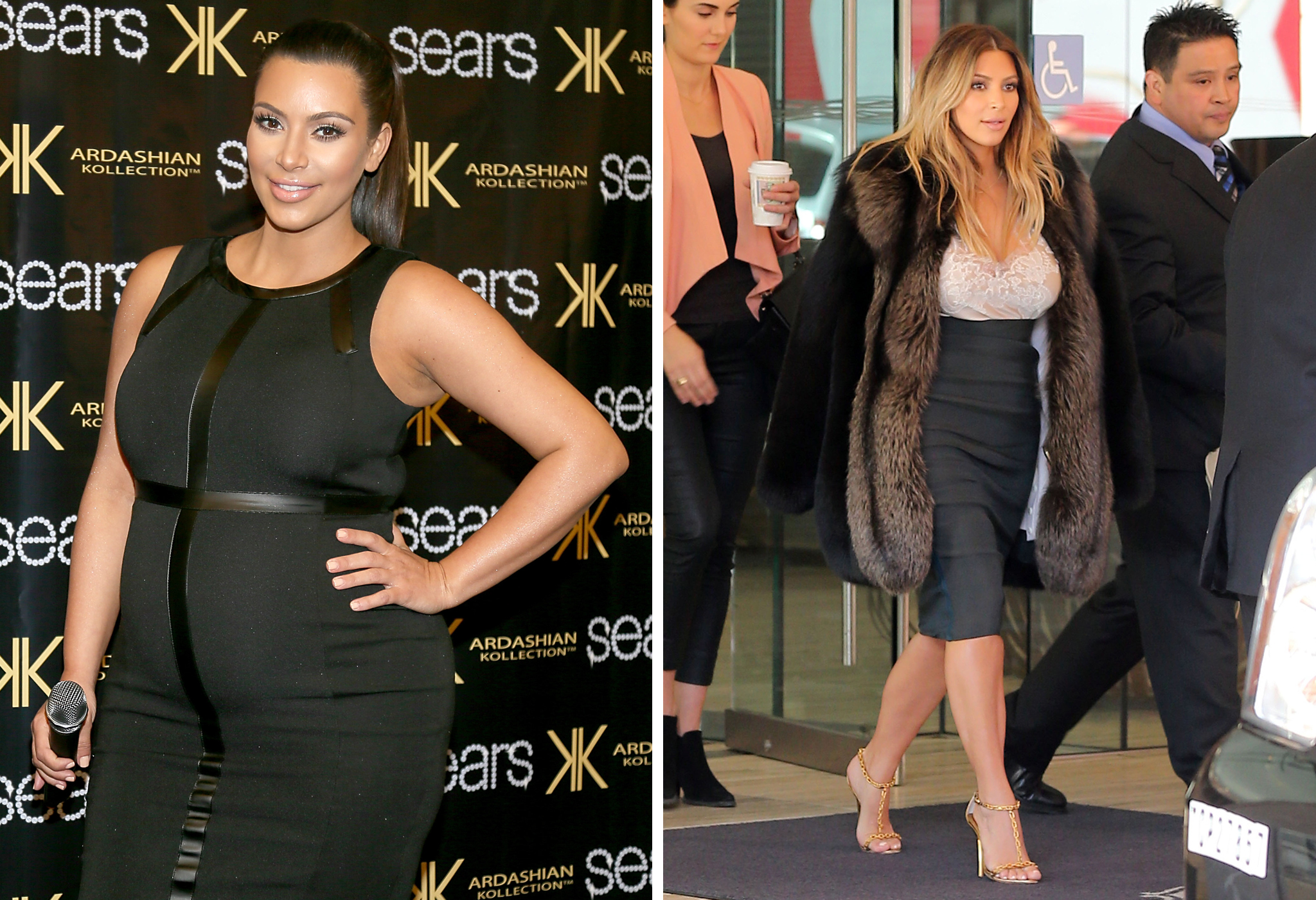 A pregnant Kim Kardashian / Kim stepping out post-engagement on Tuesday (FilmMagic/FameFlynet)